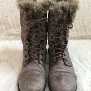 Steve Madden Troopa Leather Faux Fur Combat Boots